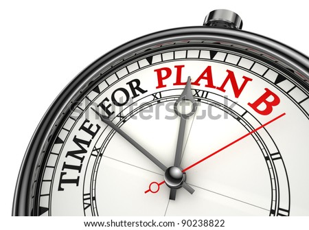 time for plan b concept clock closeup on white background with red and black words
