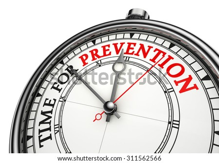 time for prevention concept clock, isolated on white background - stock photo