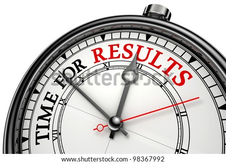 time for results concept clock on white background with red and black words.clipping path included