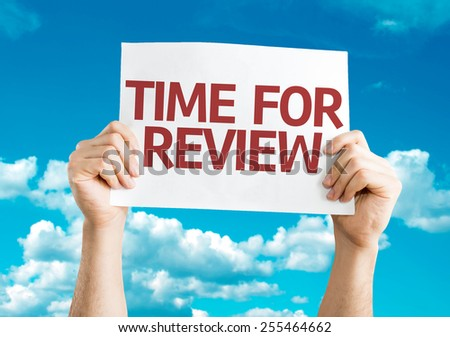 Time for Review card with sky background - stock photo