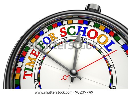 time for school colorful concept clock closeup on white background with red and black words - stock photo