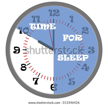 Time for sleep, Clock and blue sector on the dial - stock photo