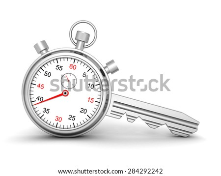 Time For Success. Concept Stopwatch With Lock Key. 3d Render Illustration - stock photo