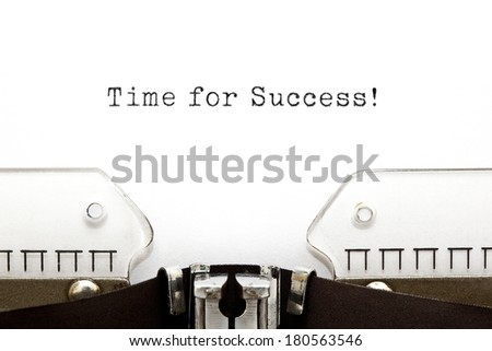 Time For Success printed on an old typewriter. - stock photo