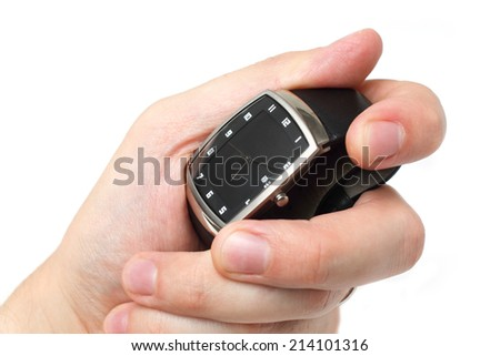 Time in your hand concept isolated over white background.  - stock photo
