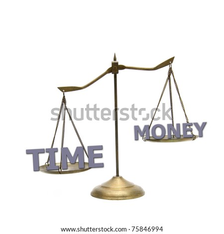 time is greater money concept on golden brass scales - stock photo