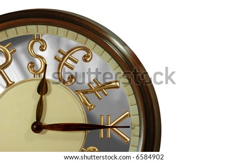 Time is money! A clock with golden international currency signs as numbers - stock photo