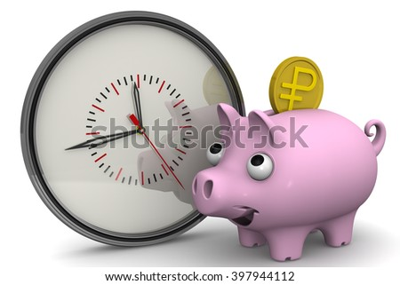 Time is money. Analog clock and piggy bank with a coin of the Russian ruble on a white surface. Financial concept. 3D illustration. Isolated - stock photo