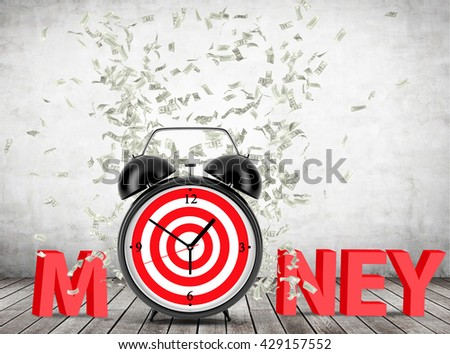 Time is money and targeting concept with dollar banknotes raining on abstract dartboard clock placed on wooden floor and concrete background - stock photo