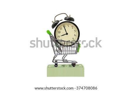 Time is Money Black Alarm Clock nine o'clock in shopping cart on stack of one hundred dollar bills isolated on white background - stock photo