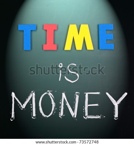 Time is money, business words on blackboard. - stock photo
