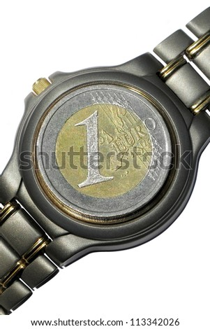 Time is money.Coin  instead of  watch dial  isolated on white background