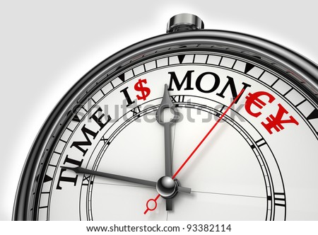time is money concept clock closeup on white background with red and black words