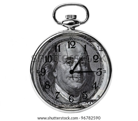Time is money concept - 100 dollar bill Benjamin Franklin portrait and clock