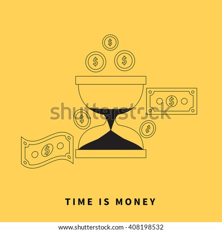 Time is money concept. Hourglass coins. Business currency and clock, dollar saving, watch and cash, sandwatch and monetary. Time management  illustration. Black thin line on yellow background - stock photo