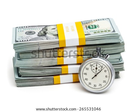 Time is money concept  - stopwatch and stack of new 100 US dollars 2013 edition banknotes (bills) bundles isolated on white - stock photo