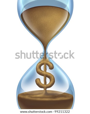 Time is money financial and savings concept for business and value of money management with an hour glass and sand in the shape of a dollar icon and urgent importance of spending and expenses. - stock photo