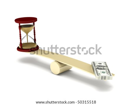 Time is money. Hourglass and dollar bills on seesaw isolated on white background. High quality 3d render. - stock photo