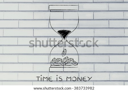 time is money: hourglass with sand turning into coins - stock photo