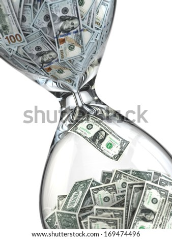 Time is money. Inflation. Hourglass and dollar. 3d - stock photo