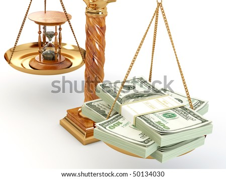 Time is money. Money and hourglass on scale.3d - stock photo