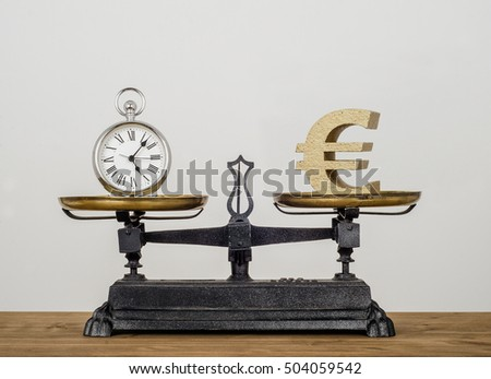 Time is money. Old pocket watch and Euro symbol on antique vintage balance scales.
