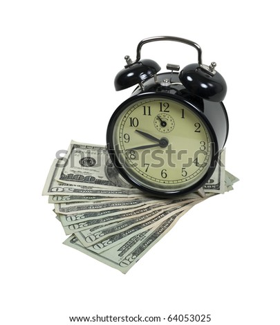 Time is money shown by an alarm clock with several monetary bills - path included