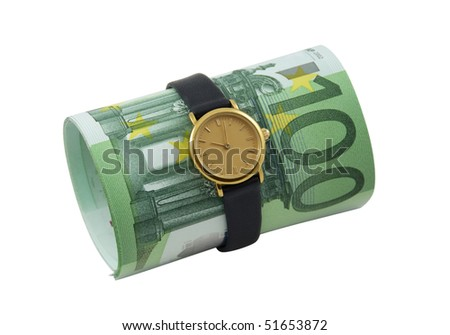 Time is money. Watch and one hundred euro banknotes isolated over white.