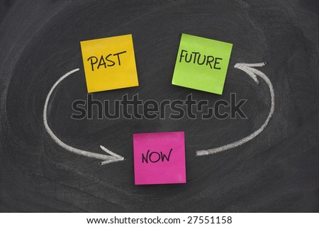 time loop concept - past, present, future - colorful sticky notes on blackboard with white chalk arrows and eraser smudges - stock photo
