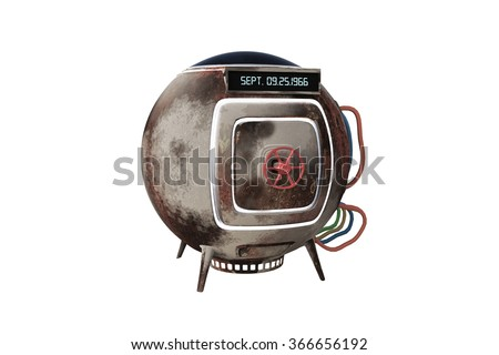 time machine capsule isolated on white background