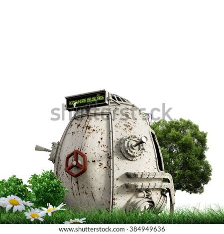 time machine on green grass - stock photo