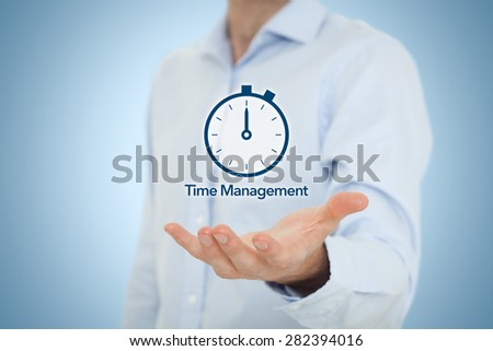 Time management and deadline concept. Businessman with clock watch expecting deadline. Central composition. - stock photo