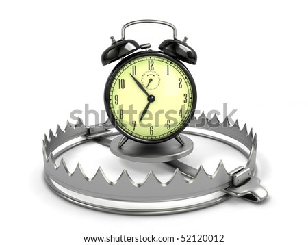 Time management concept. Alarm clock on bear trap. - stock photo