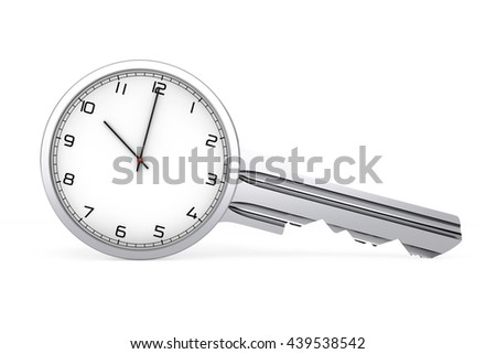 Time Management Concept. Mdern Clock as Key on a white background. 3d Rendering - stock photo