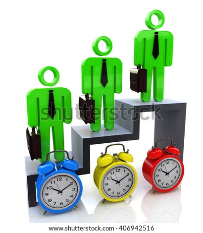 Time management concept. Professional growth.3D Illustration - stock photo