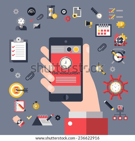 Time management concept with hand holding mobile phone and successful business planning elements  illustration - stock photo