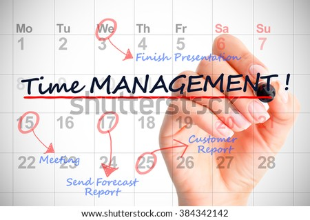 Time management concept with multiple dates or tasks marked on calendar