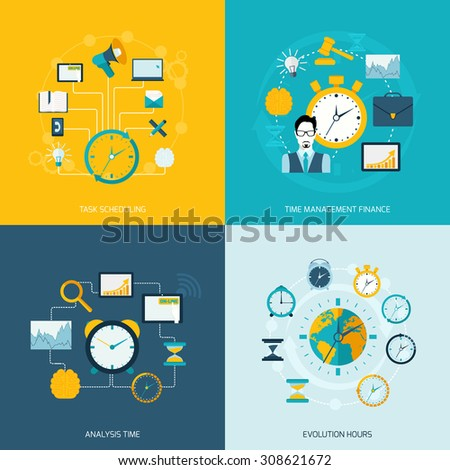 Time management flat icons set with task scheduling time management finance analysis evolution hours isolated  illustration - stock photo