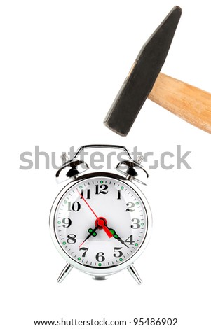Time management - Hammer about to hit the alarm clock