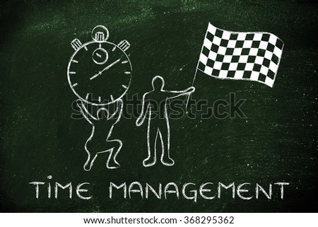 time management: men with oversized stopwatch and chekered flag