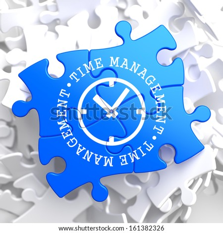 Time Management with Icon of Clock Face Written on Blue Puzzle Pieces. Business Concept. - stock photo