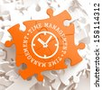 Time Management with Icon of Clock Face Written on Orange Puzzle Pieces. Business Concept. - stock photo