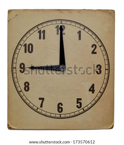 Time on old wall clock nine pm. Isolated from background - stock photo
