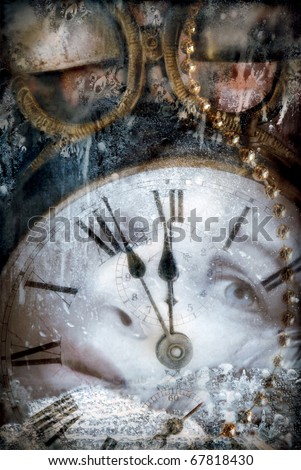 Time passing concept - montage in grunge style - stock photo