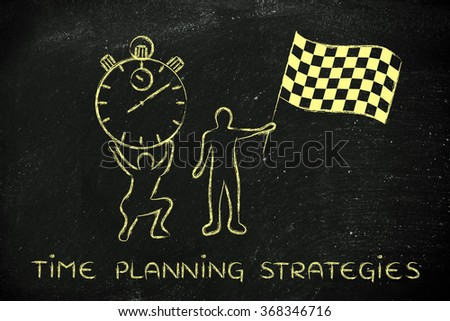 time planning strategies: men with oversized stopwatch and checkered flag