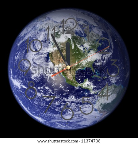 Time's Running Out - View of Western Earth & Clock Face.                  Credit: Image courtesy, NASA's Goddard Space Flight Center