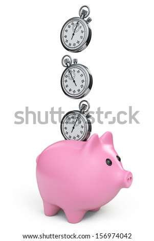 Time Save Concept. Piggy Bank with Stopwatch on a white background - stock photo