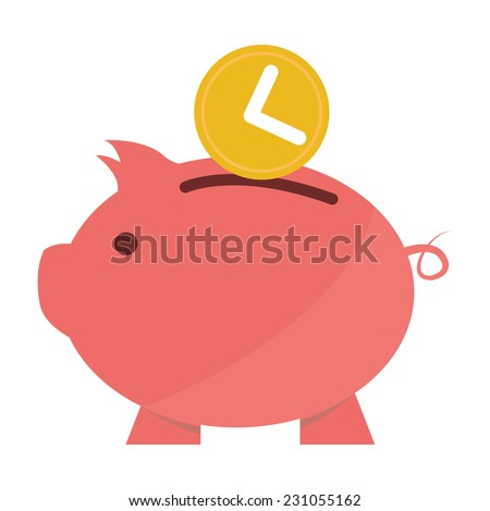 Time Saving, Time Depositing Into Pink Piggy Bank, Time Management Concept Isolated on White Background  - stock photo