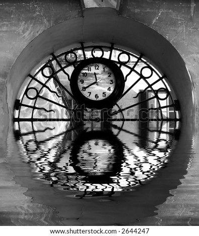 Time Series - Illustrations depicting various conceptual images portraying clocks and time - stock photo