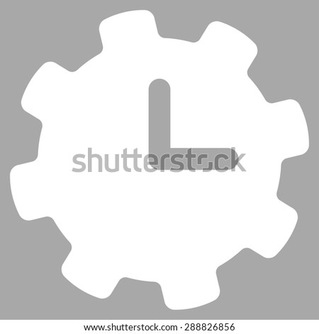 Time settings icon from Business Bicolor Set. This flat raster symbol uses white color, rounded angles, and isolated on a silver background. - stock photo